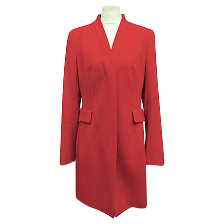 Akris Wollmantel mit Taschen Rot