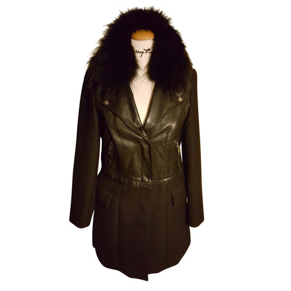 Blonde No8 Coat with real fur collar