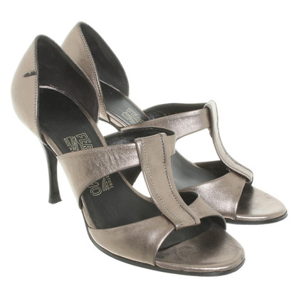 Salvatore Ferragamo Peeptoes in Metallic