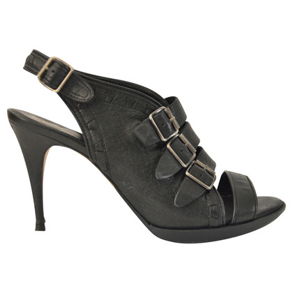Diesel Black Gold Peep toes with buckles