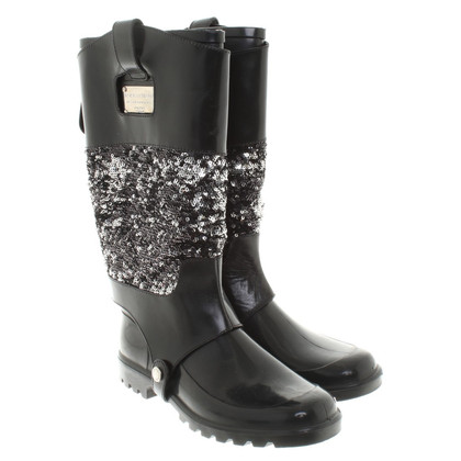 Dolce & Gabbana Rubberen laarzen met pailletten versiering