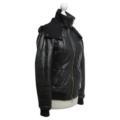 Giorgio Brato Gewatteerde lederen jas in zwart