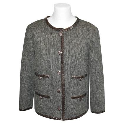 Chanel Blazer in wool / python leather