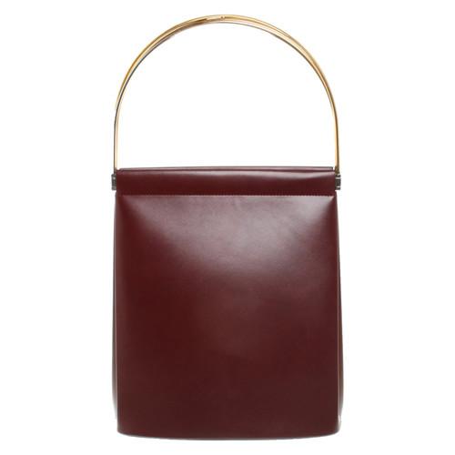 c21643312c50e4 Cartier Handbag Leather in Bordeaux - Second Hand Cartier Handbag ...