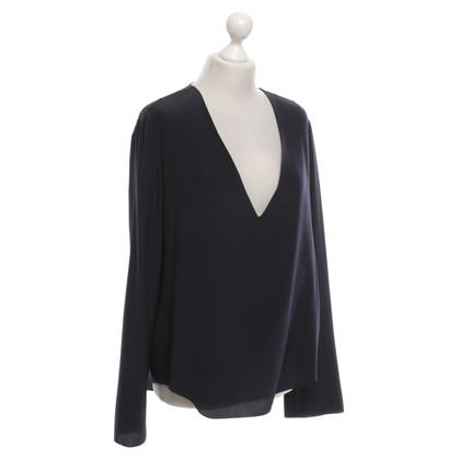 Chloé blouse de soie bleu foncé