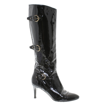 Bally Shiny leather boots in black