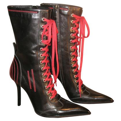 Gianmarco Lorenzi Stivali neri con dettagli rossi