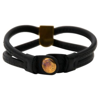 Delvaux Zwarte Leren armband
