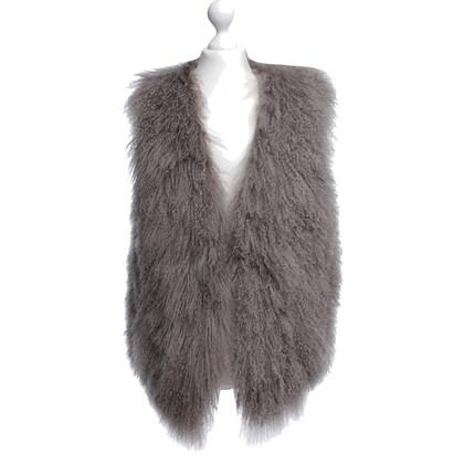 Donna Karan Lamb fur vest in Taupe