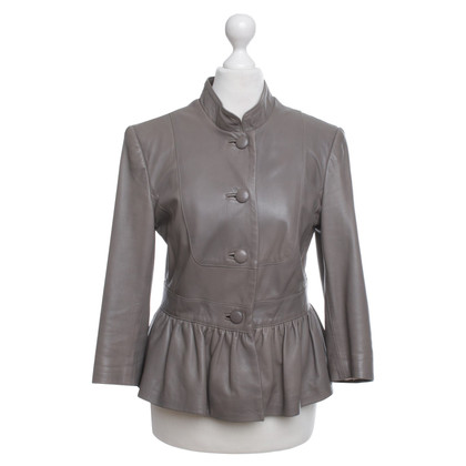 Temperley London Leather Jacket in Taupe