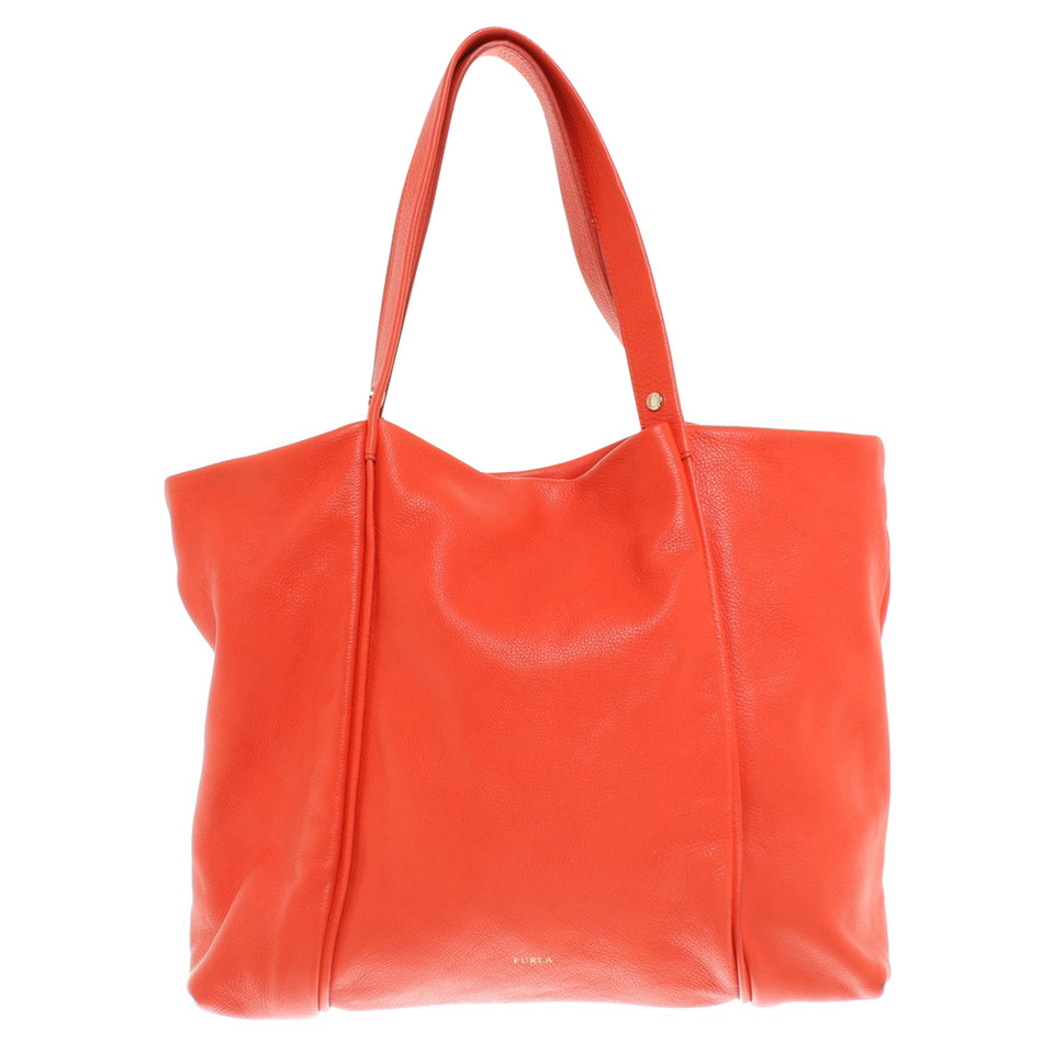 furla handtasche in orange second hand furla handtasche. Black Bedroom Furniture Sets. Home Design Ideas