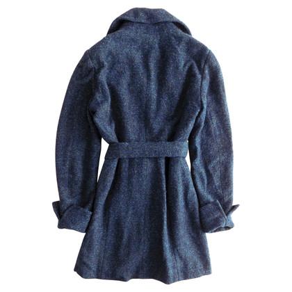 Kenzo Melange blue coat with belt