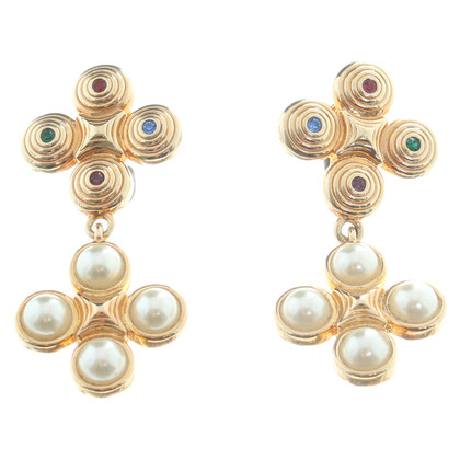 Swarovski Gold Earrings with Pearl