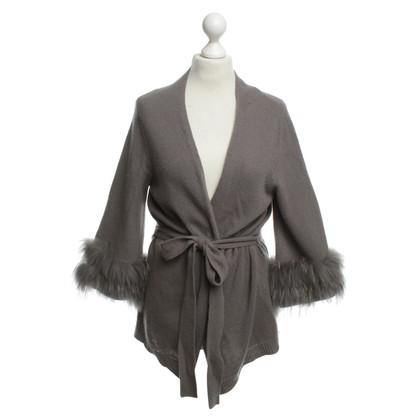 Dorothee Schumacher Grey Cardigan with rabbit fur trim