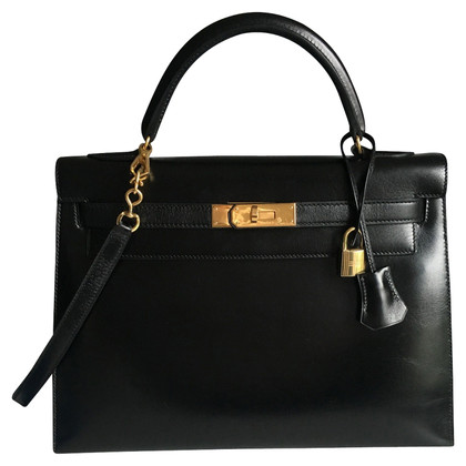 "Hermès ""Kelly Bag 32 Black Box Leather"""