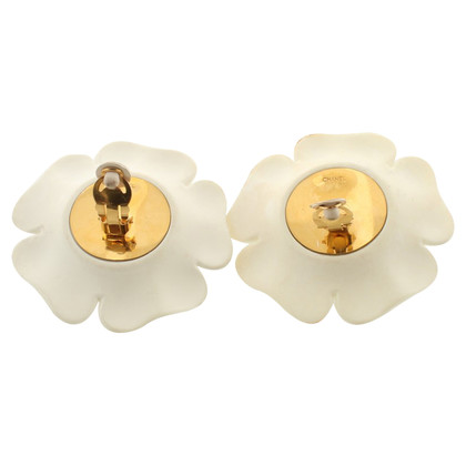 Chanel Camellia earclips in white
