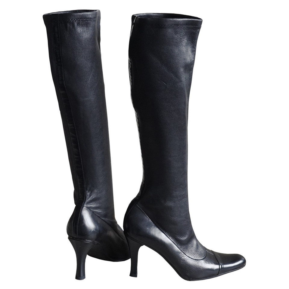 chanel knee high boots. chanel stretch leather boots knee high v