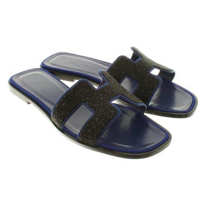 """Hermès Sandalen """"Oran"""" in blauw / zwart"""