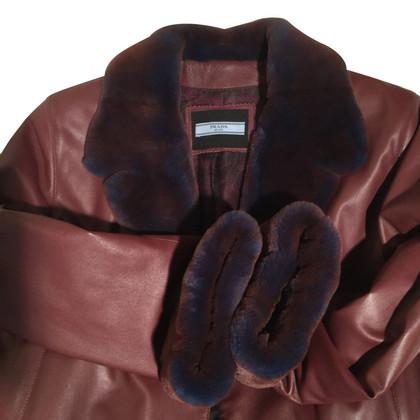 Prada Cappotto in pelle e pelliccia di visone