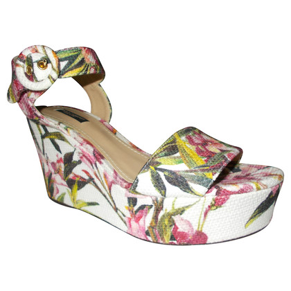 Dolce & Gabbana Sandalo di broccato floreale di oleandro