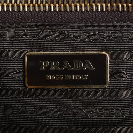 Prada Shopper mit Ponyfellbesatz Bunt / Muster Günstig Kaufen Niedrigsten Preis gdMAR