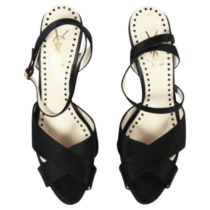 Yves Saint Laurent Sandals black satin