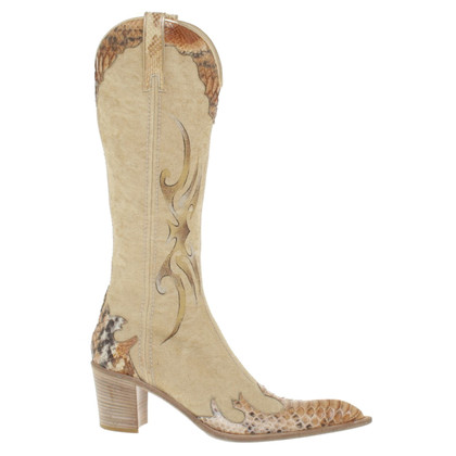 Gianmarco Lorenzi bottes de cow-boy en beige