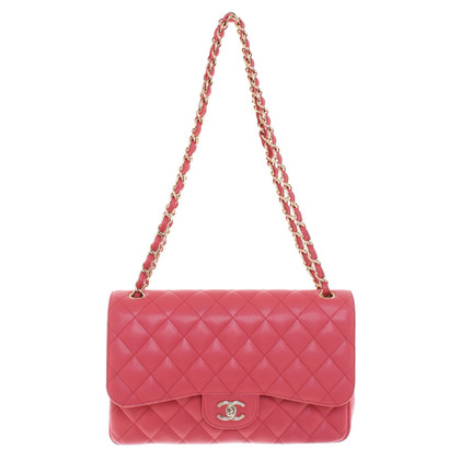 """Chanel """"Jumbo Flap Bag"""" in coral red"""