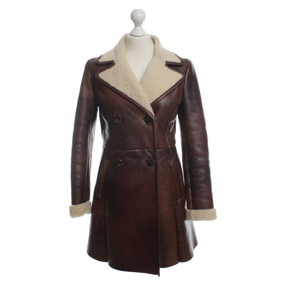 prada manteau de cuir avec peau de mouton acheter prada manteau de cuir avec peau de mouton. Black Bedroom Furniture Sets. Home Design Ideas