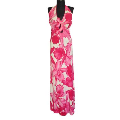 Céline Pink flower print,neckhalter maxi dress