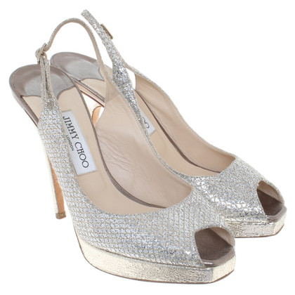Jimmy Choo Peeptoes in Zilver / Goud