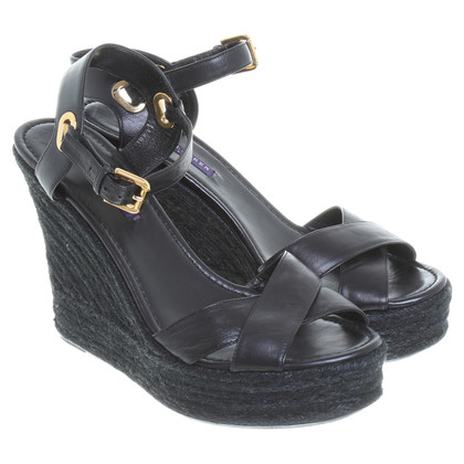 Ralph Lauren Black Label Lederwedges in Schwarz