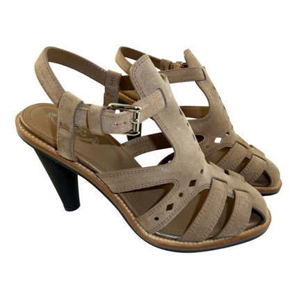 Tod's Beige high heel sandal in suede high heel