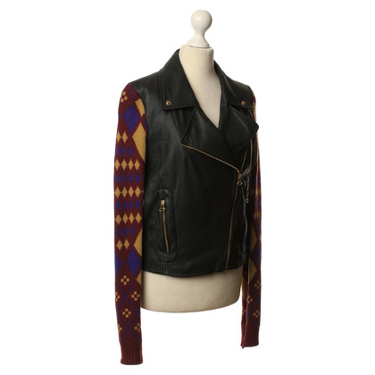 Matthew Williamson Art leather jacket with knit inserts