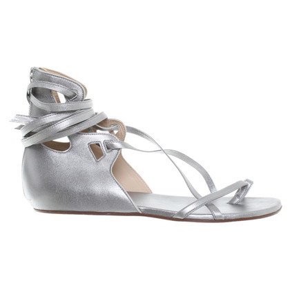 Chanel Silberfarbene Sandalen