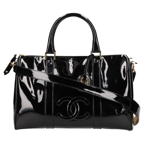 711bba81ea1393 Chanel Bowling Bag Patent leather in Black - Second Hand Chanel ...