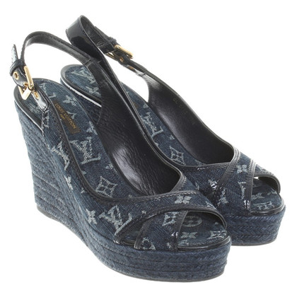 Louis Vuitton Wedges aus Monogram Denim