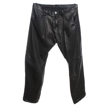 Drome Pantalon en cuir en noir