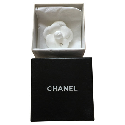 Chanel Camellia brooch made of suede leather