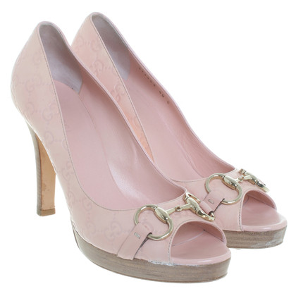 Gucci Plateau-Peeptoes in Nude