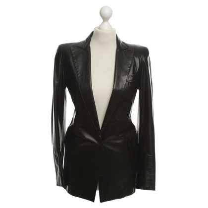 Costume National Giacca in pelle in Black