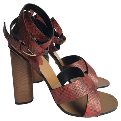 Gucci Red Python Ferse Sandalen.