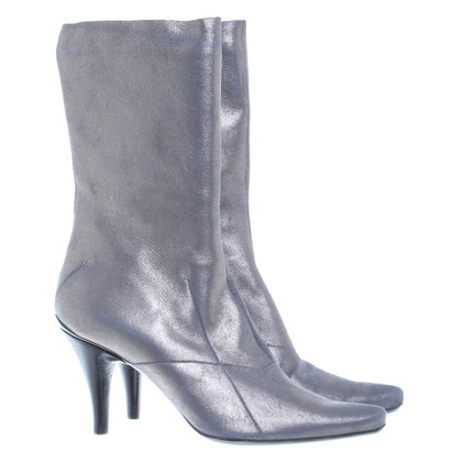 Costume National Leather boots with Golden shimmer