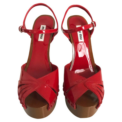 Miu Miu Red Patent Leather High Heel Sandals