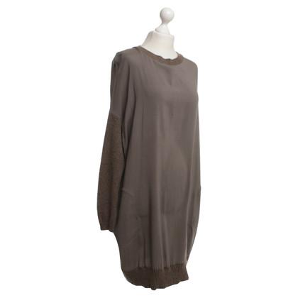 Brunello Cucinelli zijden jurk met kasjmier inzetstukken