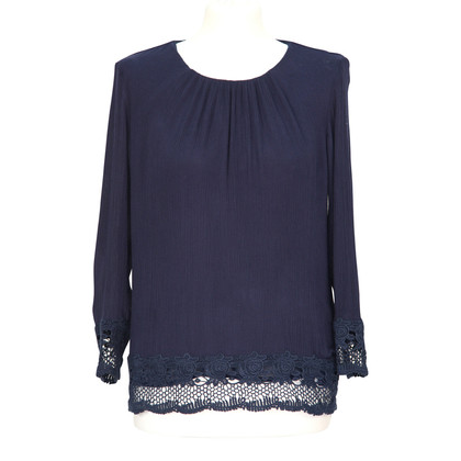 French Connection Blauwe blouse met kant