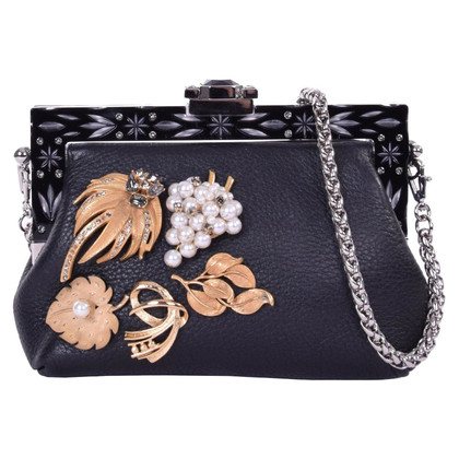 Dolce & Gabbana clutch VANDA with Brooches Black