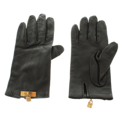 Hermès Leather gloves with metal application