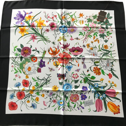 Gucci Gucci Floral Scarf with Black Band