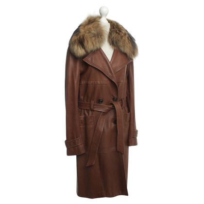 René Lezard Leather coat with fur trim